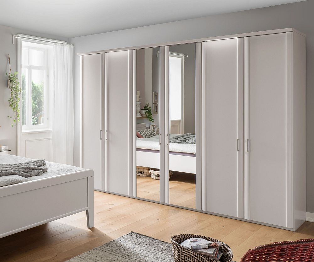 Wiemann Bern 6 Door Mirror Wardrobe in White - W 300cm