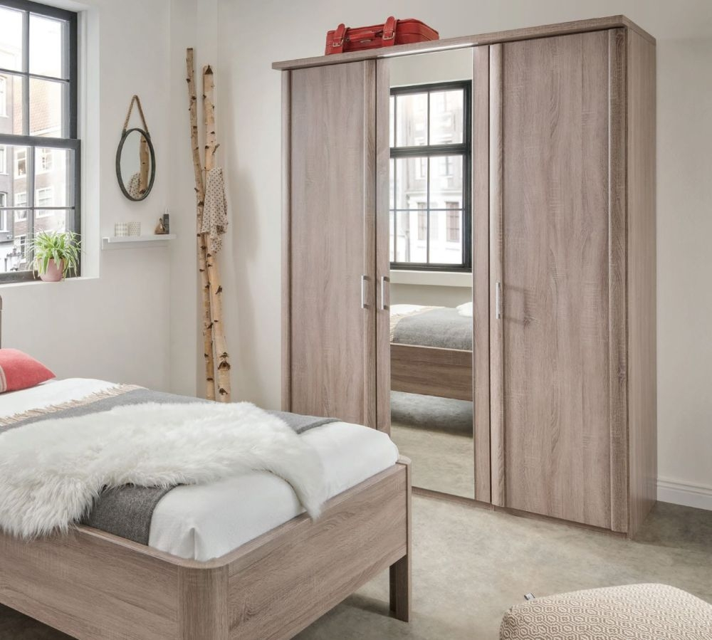Wiemann Bern 4 Door 2 Mirror Wardrobe with Cornice without Lighting in Rustic Oak - W 200cm