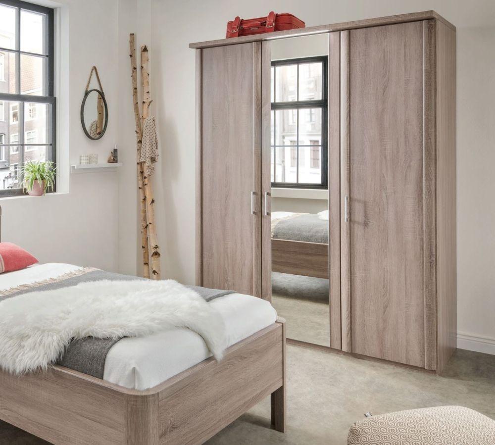 Wiemann Bern 6 Door 4 Mirrror Wardrobe with Cornice without Lighting in Rustic Oak - W 300cm