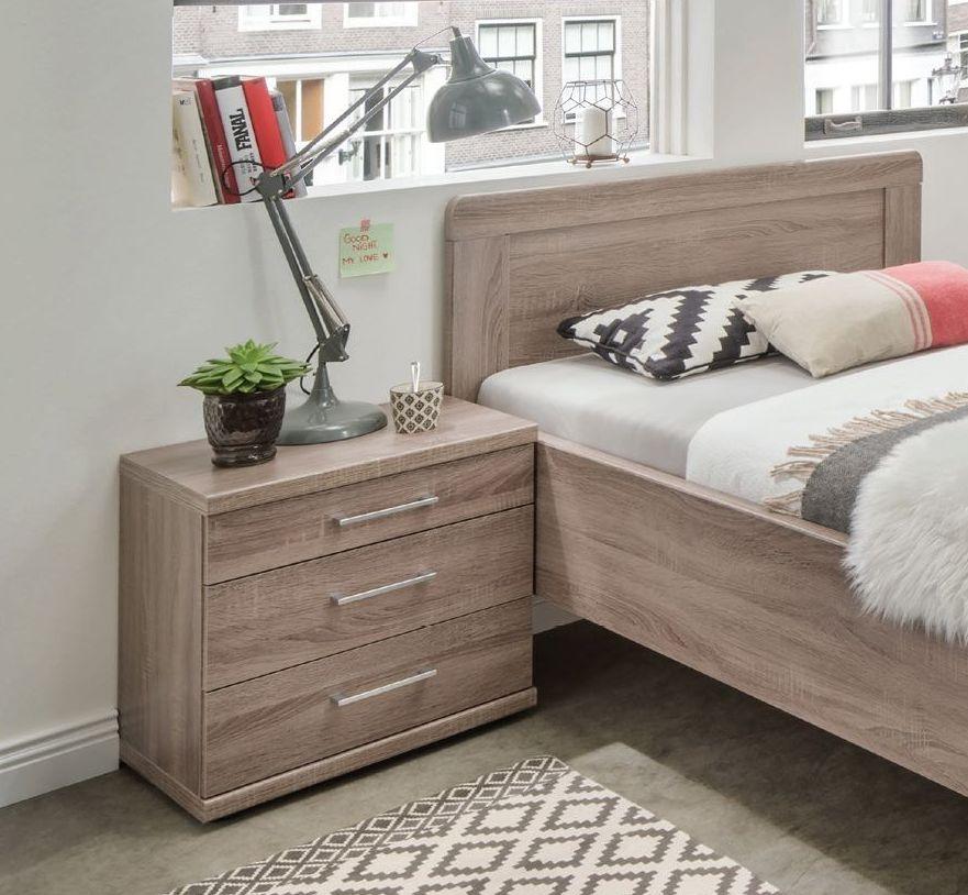 Wiemann Bern 3 Drawer Bedside Cabinet in Rustic Oak - W 60cm