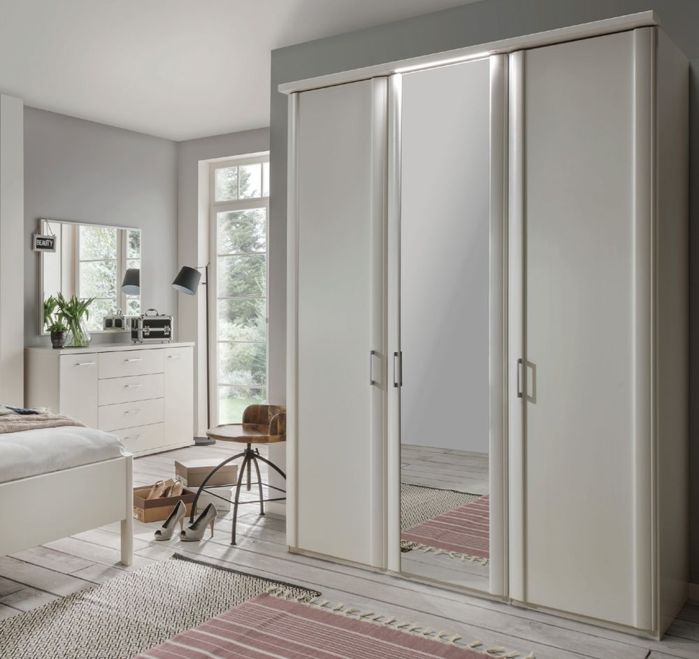 Wiemann Bern 1 Door Mirror Wardrobe with Cornice without Lighting in White - W 50cm (Left)