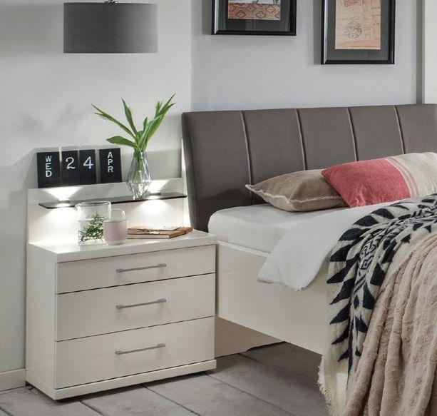 Wiemann Bern 2 Drawer Bedside Cabinet in White - W 60cm