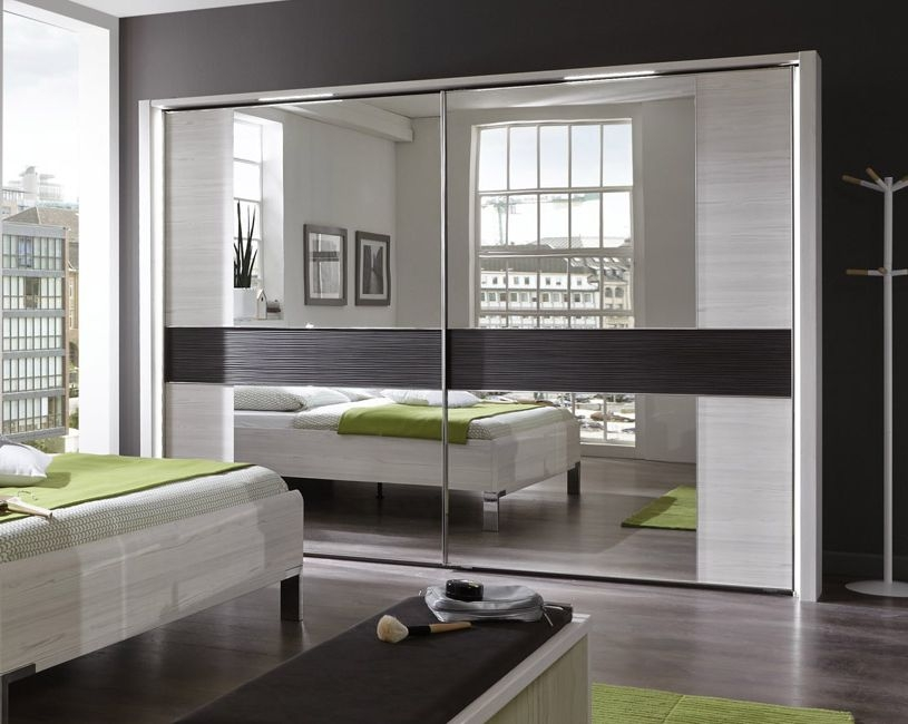 Wiemann Bianco 2 Door Structure Pebble Grey Cross Trim Sliding Wardrobe in Polar Larch - W 200cm