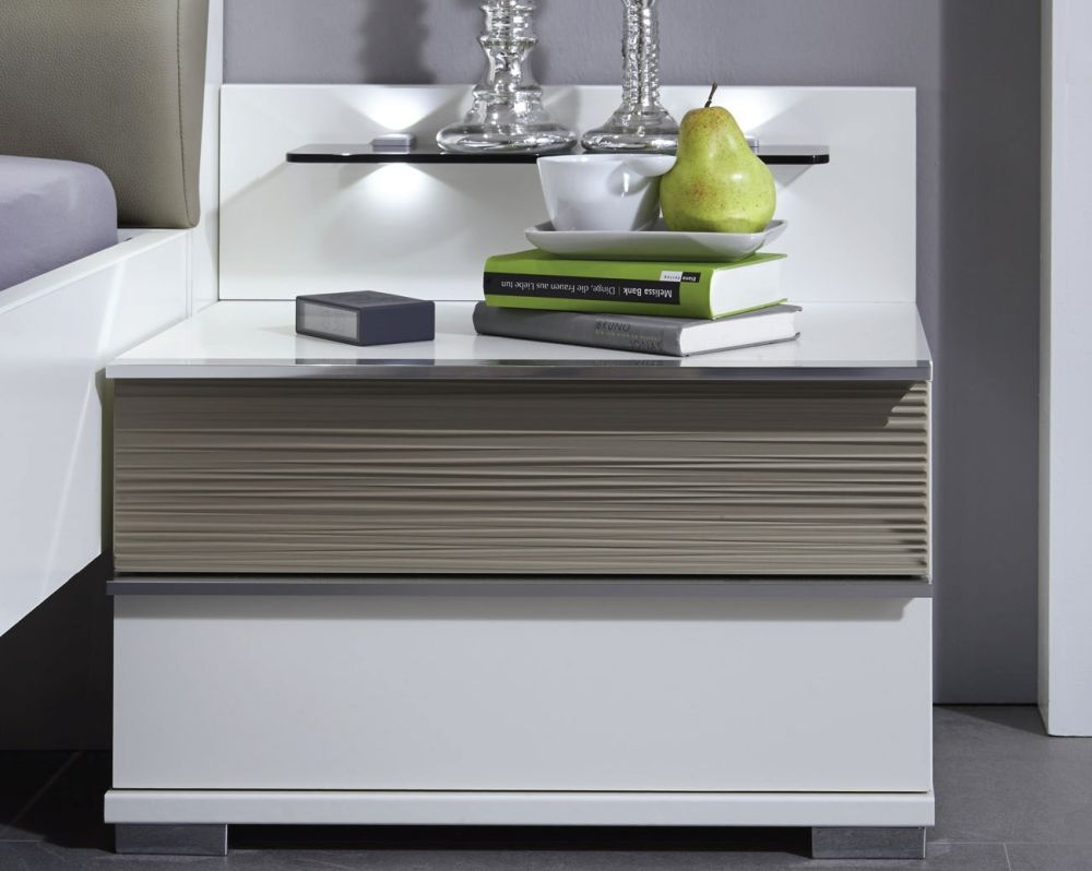 Wiemann Bianco 2 Drawer Bedside Cabinet in White and Mocca