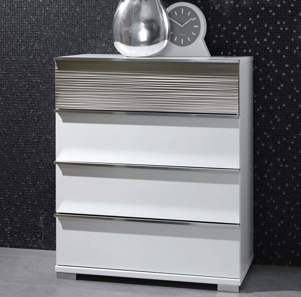 Wiemann Bianco 4 Drawer Chest in White and Mocca