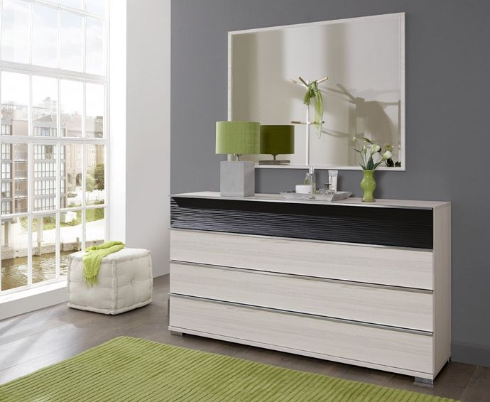 Wiemann Bianco 4 Drawer Large Chest in Polar Larch and Pebble Grey