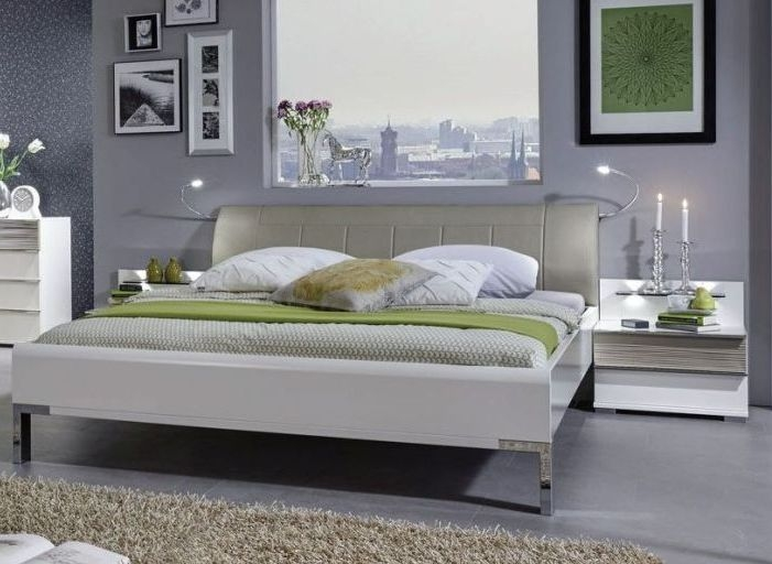 Wiemann Bianco 5ft King Size Faux Leather Upholstered Bed in White and Mocca - 150cm x 200cm