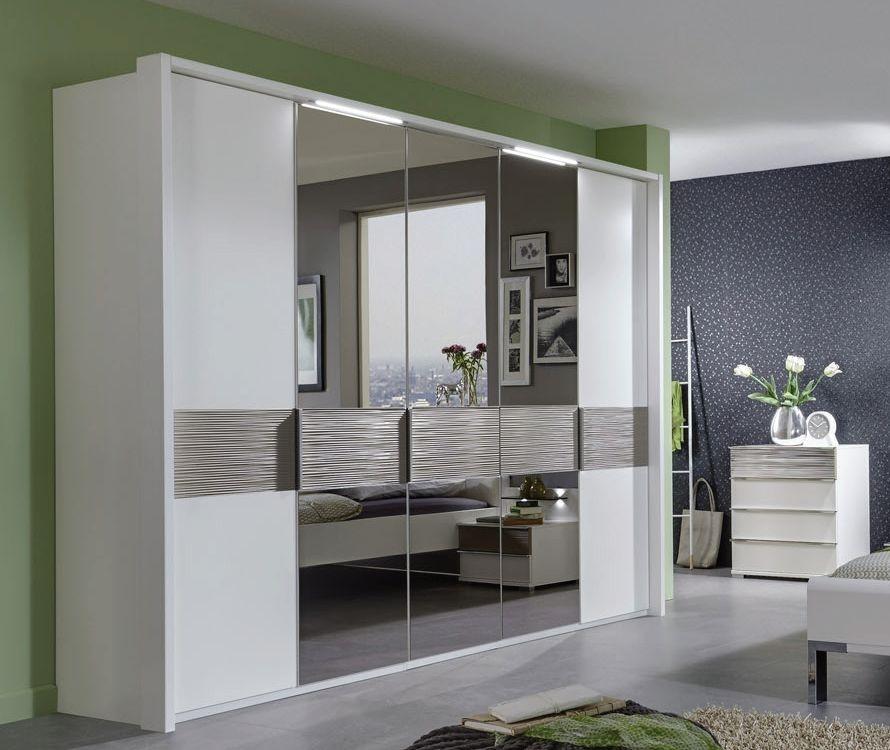 Wiemann Bianco 7 Door 5 Mirror Mocca Cross Trim Textured Wardrobe in White - W 350cm