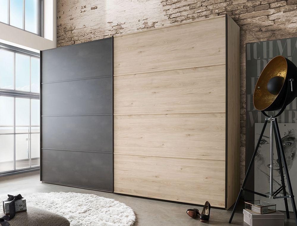 Wiemann Brusseels 2 Door Sliding Wardrobe in Oak and Slate - W 300cm