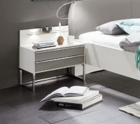Wiemann Cadiz 2 Drawer Bedside Cabinet in White and Pabble Grey