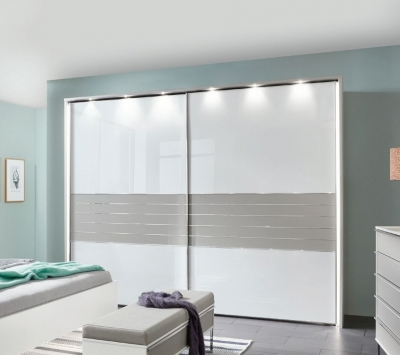 Wiemann Cadiz 2 Door Sliding Wardrobe in White and Pabble Grey - W 300cm