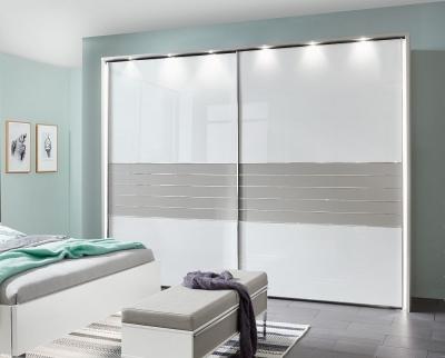 Wiemann Cadiz 2 Door Sliding Wardrobe in White and Pebble Grey - W 300cm
