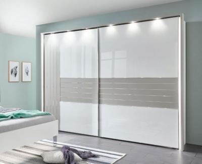 Wiemann Cadiz 2 Door Vertically Divided Left Door Sliding Wardrobe in White and Pabble Grey - W 250cm