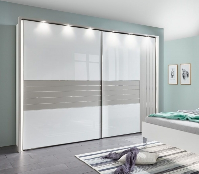 Wiemann Cadiz 2 Door Vertically Divided Right Door Sliding Wardrobe in White and Pebble Grey - W 300cm