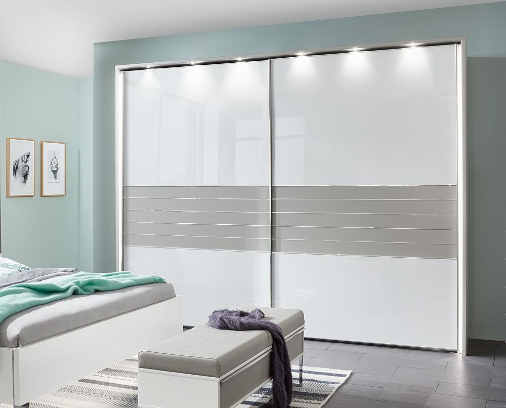 Wiemann Cadiz 2 Door Sliding Wardrobe in White and Pebble Grey - W 300cm