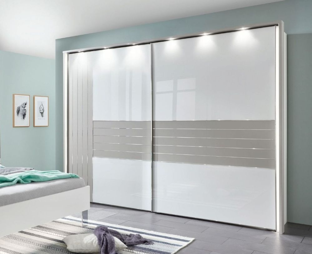 Wiemann Cadiz 2 Door Vertically Divided Left Door Sliding Wardrobe in White and Pabble Grey - W 250cm