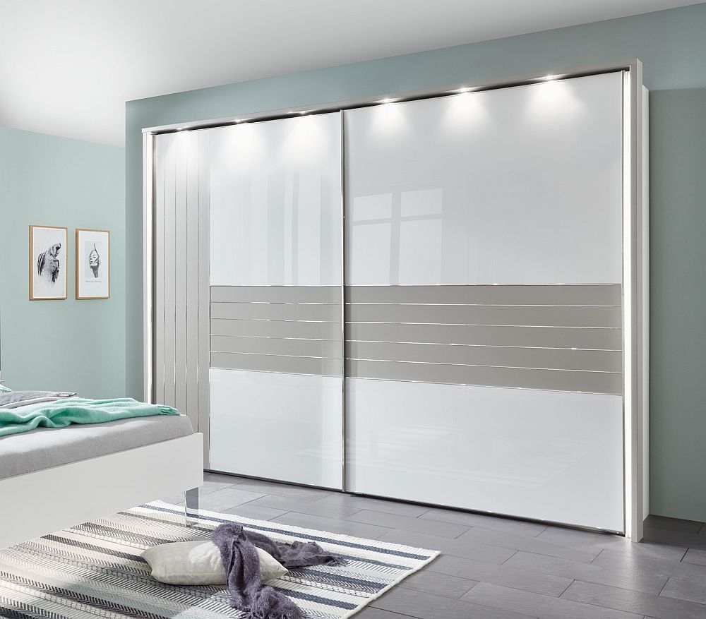 Wiemann Cadiz 2 Door Vertically Divided Left Door Sliding Wardrobe in White and Pebble Grey - W 300cm