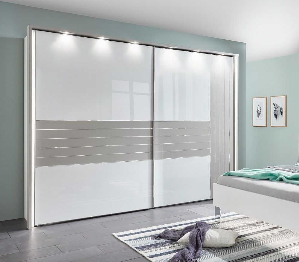 Wiemann Cadiz 2 Door Vertically Divided Right Door Sliding Wardrobe in White and Pebble Grey - W 300cm