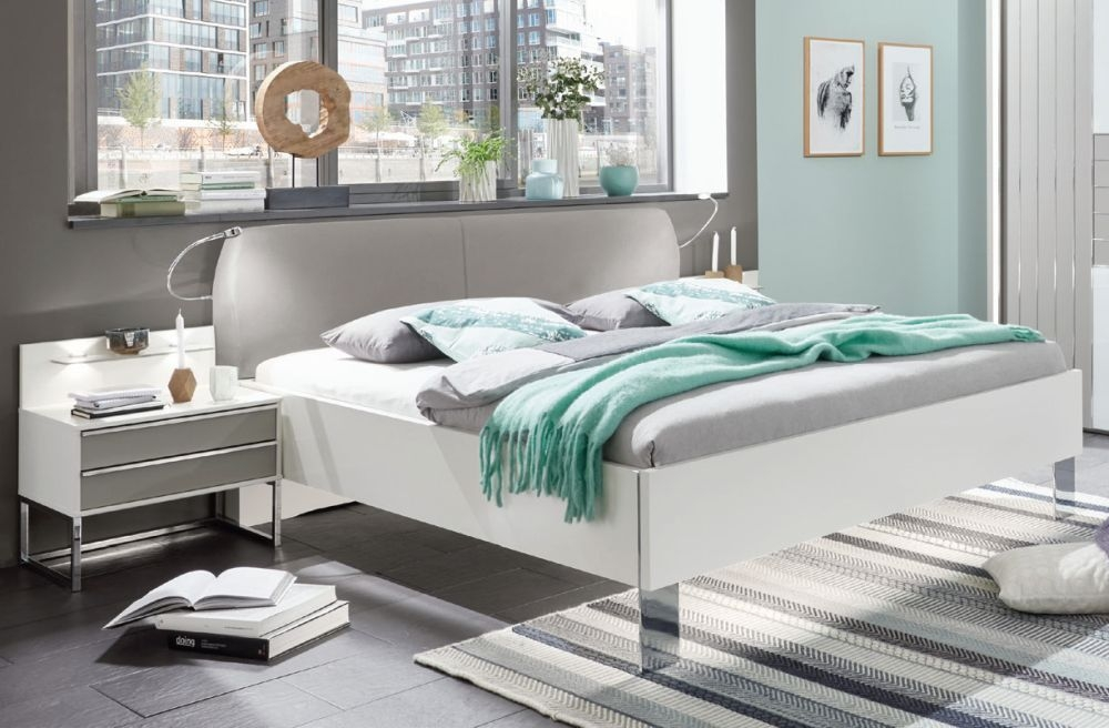 Wiemann Cadiz 5ft King Size Round Corner Leather Cushion Bed in White and Pebble Grey - 160cm x 200cm
