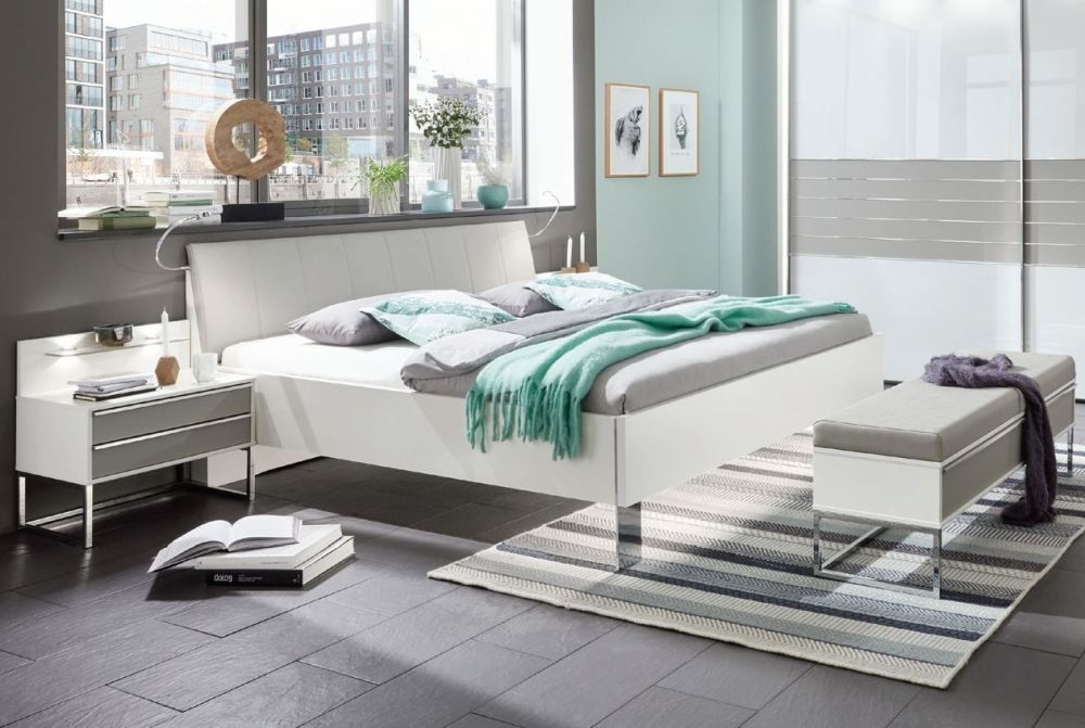 Wiemann Cadiz 5ft King Size Straight Corner Leather Cushion Bed in White and Pebble Grey - 160cm x 200cm