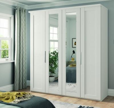Wiemann Cambridge 4 Door Mirror Wardrobe in White - W 200cm