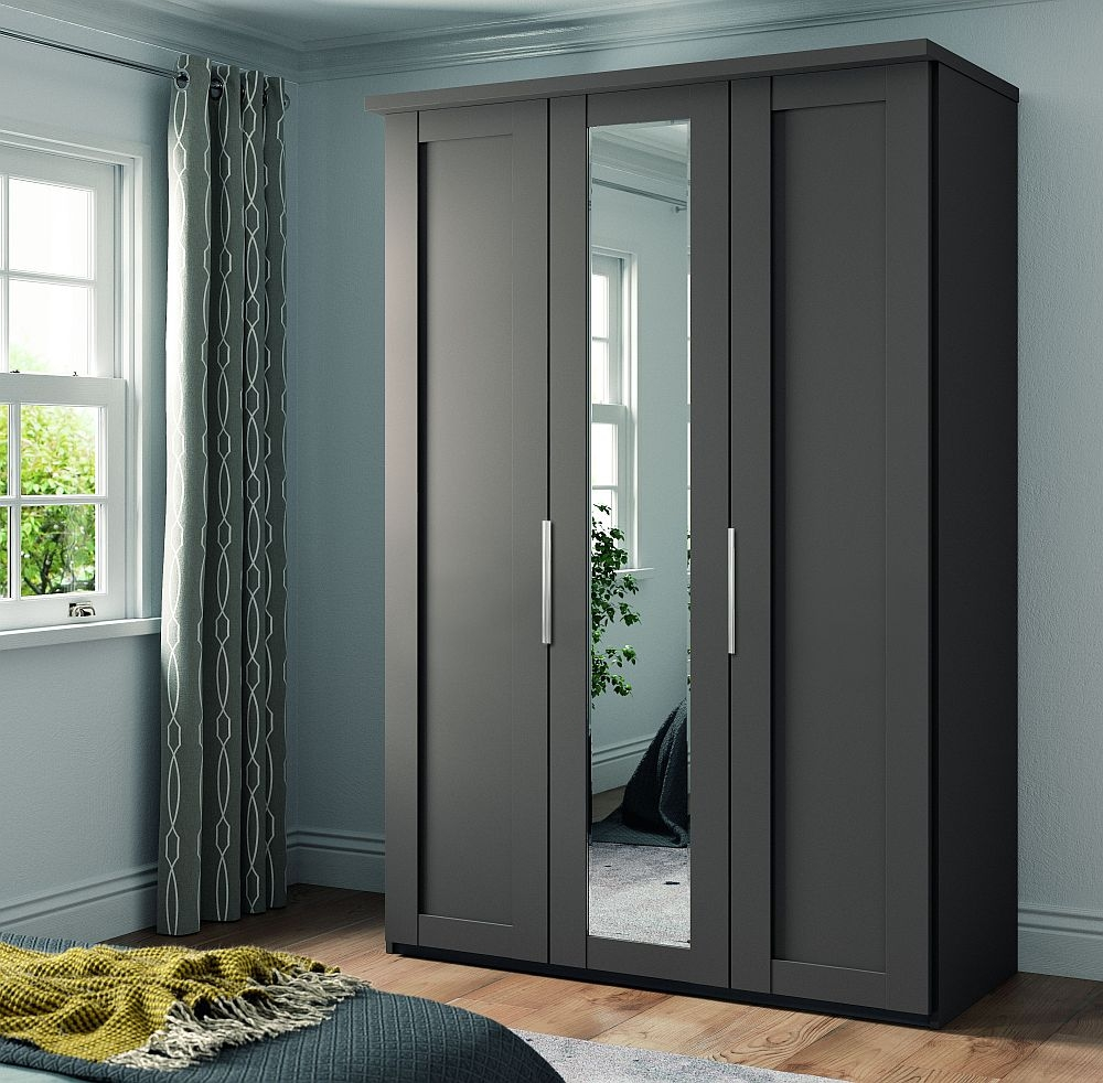 Wiemann Cambridge 3 Door Mirror Wardrobe in Havana - W 150cm