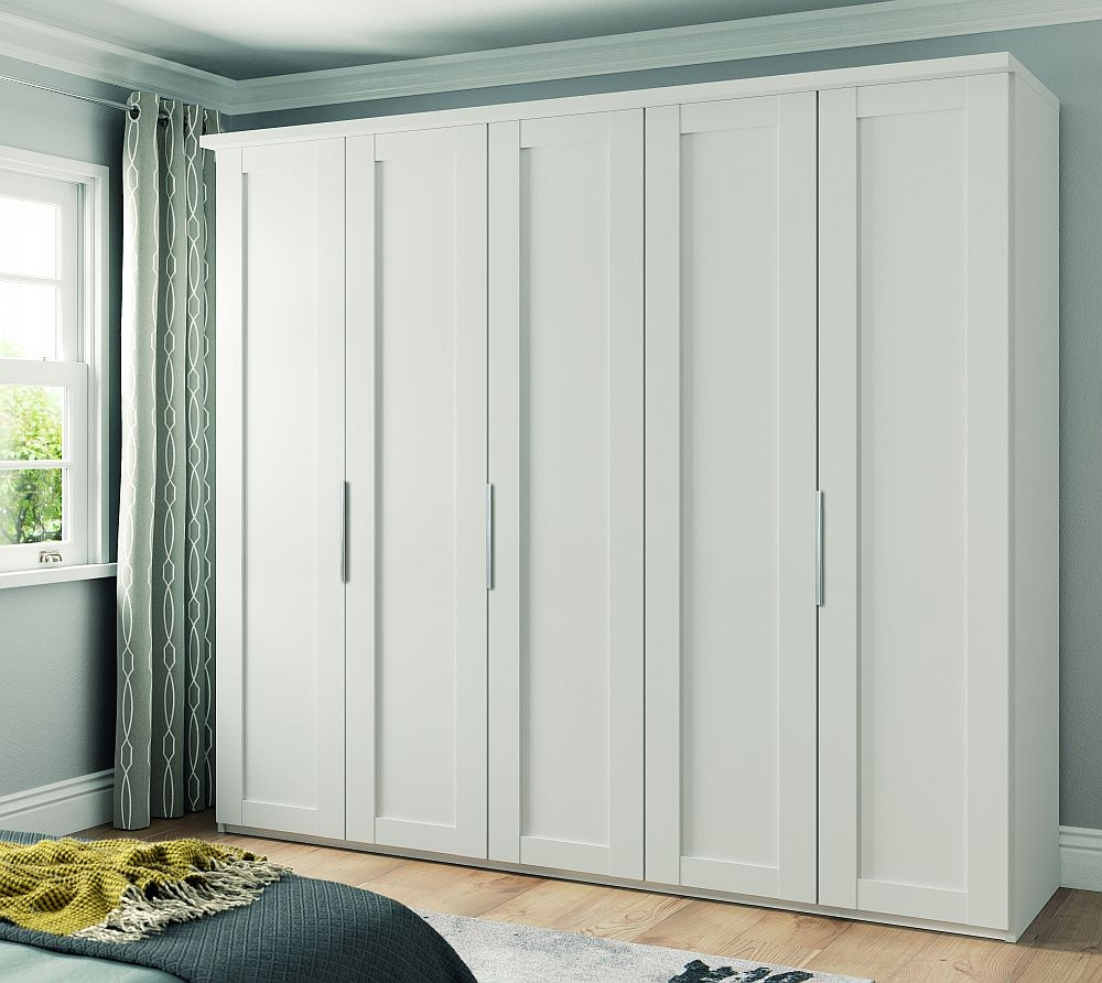 Wiemann Cambridge 5 Door Wardrobe in White - W 250cm