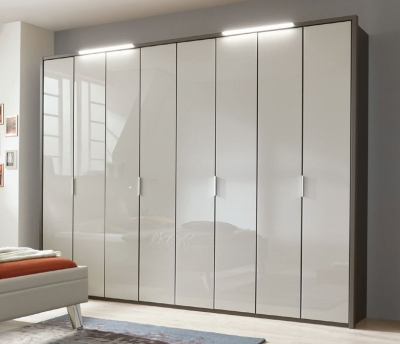 Wiemann Cannes 10 Door Wardrobe in Havana and Pabble Grey - W 375cm