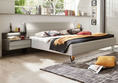 Wiemann Cannes 6ft Queen Size Faux Leather Bed in Pebble Grey - 180cm X 200cm