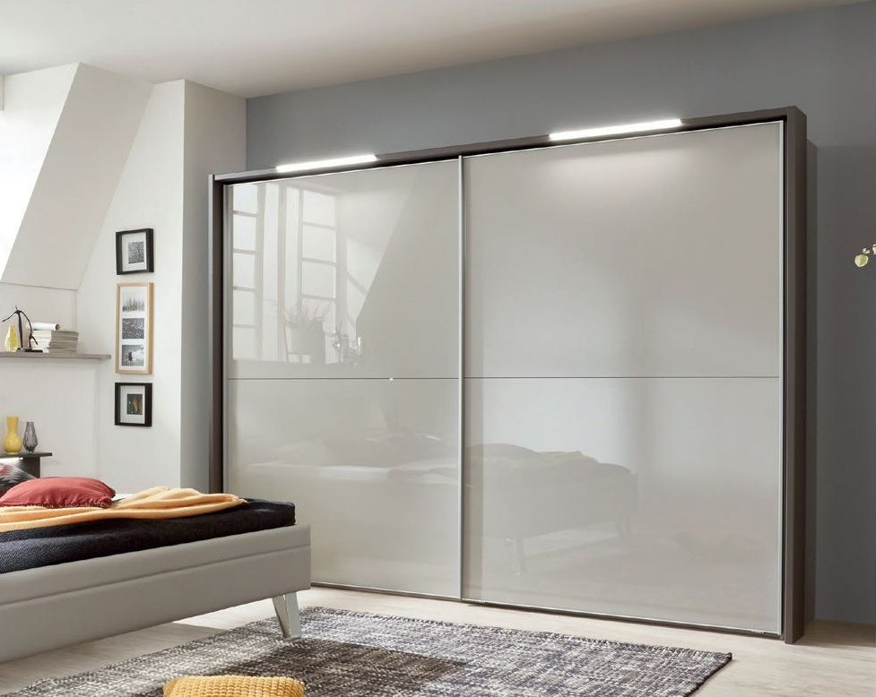 Wiemann Cannes 2 Door Sliding Wardrobe in Havana and Pebble Grey Glass - W 300cm
