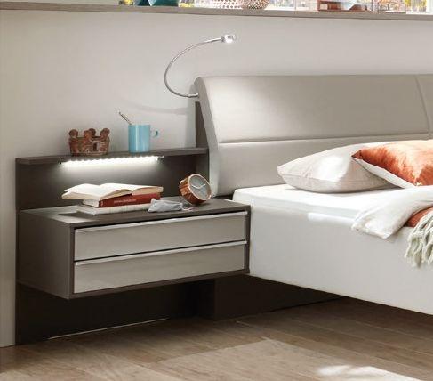 Wiemann Cannes 2 Drawer Bedside Cabinet in Havana and Pabble Grey