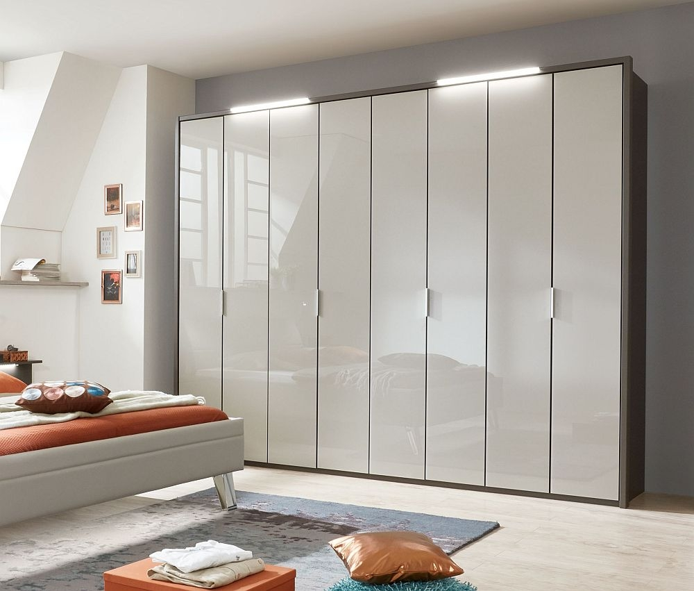 Wiemann Cannes 8 Door Wardrobe in Havana and Pebble Grey Glass - W 300cm