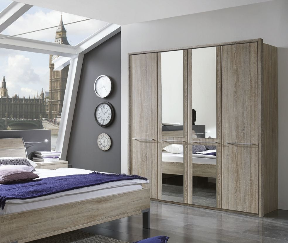 Wiemann Dakar-2 7 Door 3 Mirror Wardrobe with Passepartout in Dark Rustic Oak - W 350cm