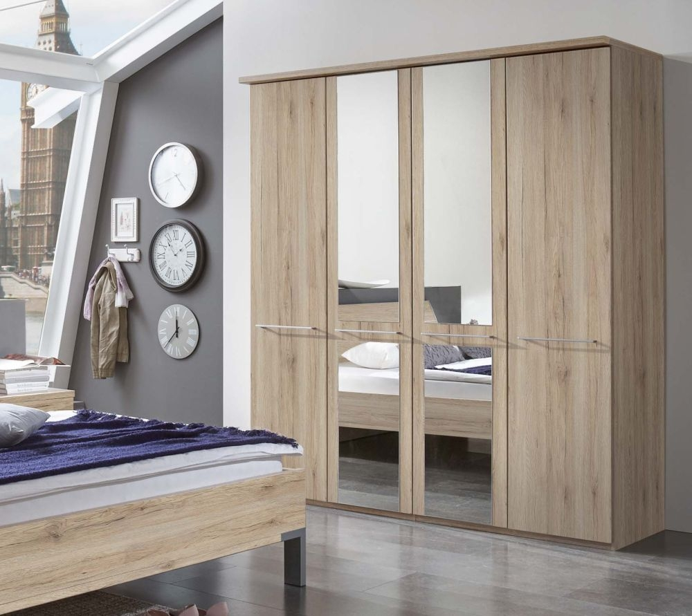 Wiemann Dakar-2 7 Door 5 Mirror Wardrobe with Cornice in Rustic Oak - W 350cm