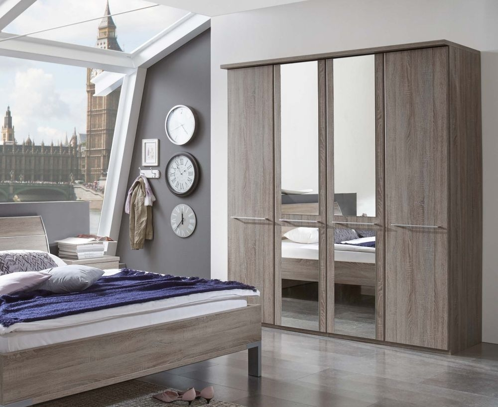 Wiemann Dakar-2 8 Door 2 Mirror Wardrobe with Cornice in Dark Rustic Oak - W 400cm