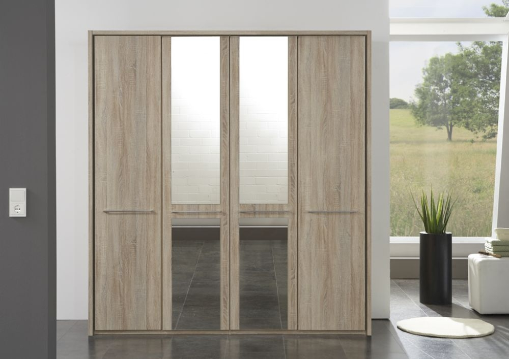 Wiemann Dakar-2 8 Door 4 Mirror Wardrobe with Passepartout in Rustic Oak - W 400cm