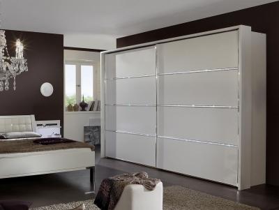 Wiemann Dubai 2 Door Sliding Wardrobe with 1 Cross Trim in White - W 250cm