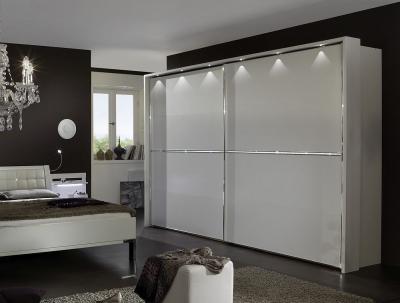 Wiemann Dubai 2 Door Sliding Wardrobe with 3 Cross Trim in White - W 250cm