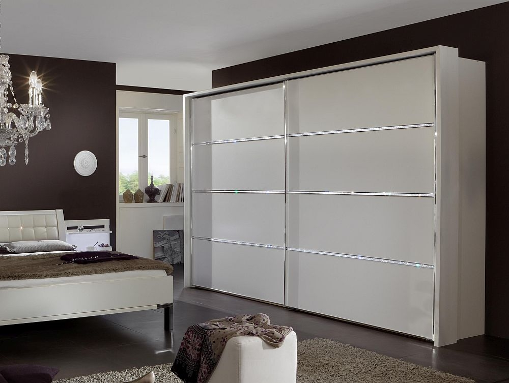 Wiemann Dubai 2 Door Sliding Wardrobe with 1 Cross Trim in White - W 250cm