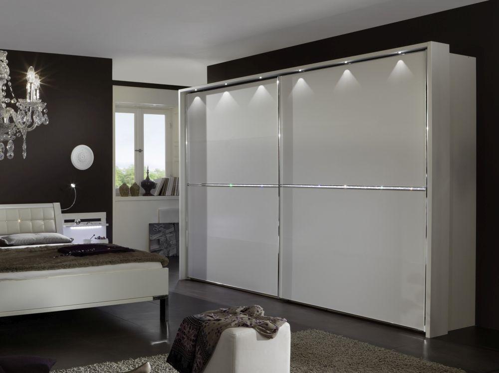 Wiemann Dubai 2 Door Sliding Wardrobe with 1 Cross Trim in White and Crystal Glass - W 200cm