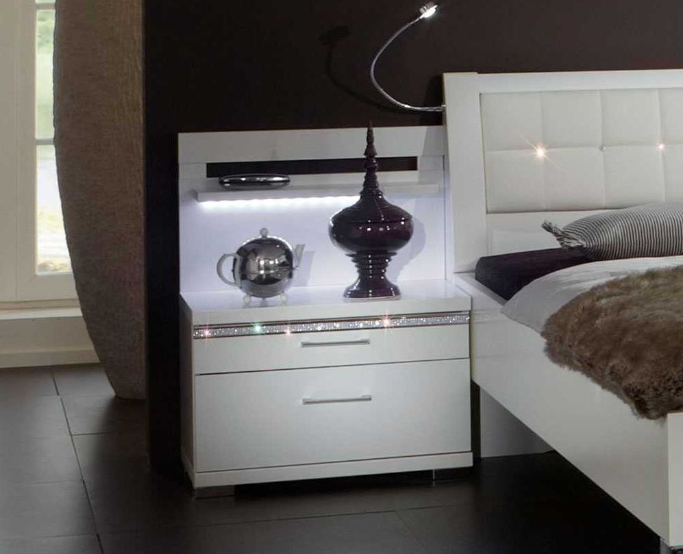 Wiemann Dubai 2 Drawer Bedside Cabinet in White and Crystal Glass