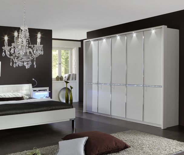 Wiemann Dubai 5 Door 1 Mirror Wardrobe in White and Crystal Glass - W 250cm