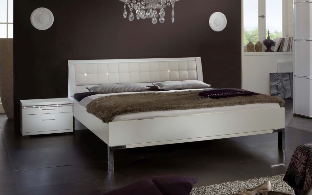 Wiemann Dubai 6ft Queen Size Leather Bed in White - 180cm X 200cm