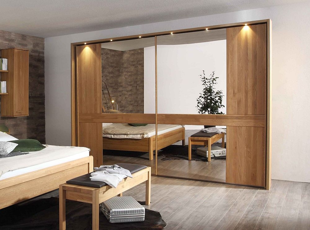 Wiemann Faro 2 Door Mirror Sliding Wardrobe in Oak - W 300cm