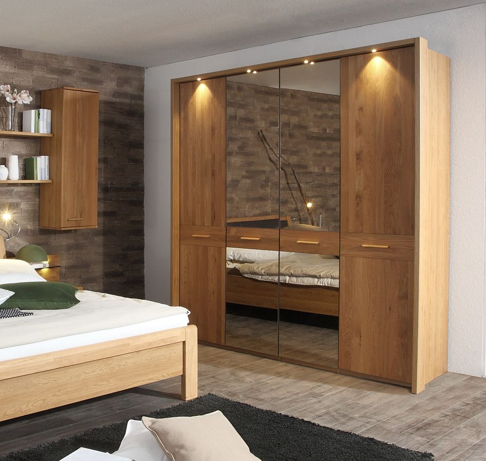 Wiemann Faro 4 Door Mirror Wardrobe in Oak - W 200cm
