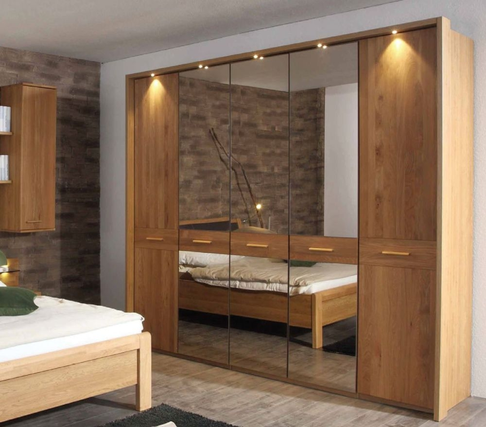 Wiemann Faro 5 Door 1 Mirror Wardrobe in Oak - W 250cm