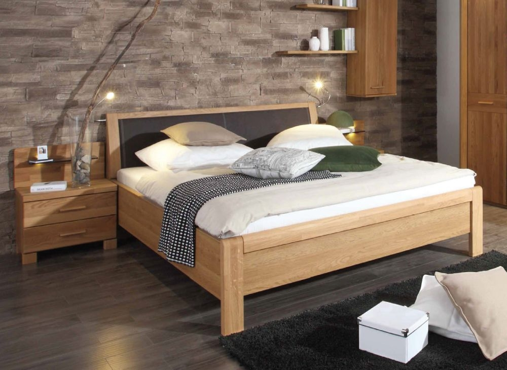 Wiemann Faro 5ft King Size Leather Bed in Oak and Mocha - 150cm x 200cm