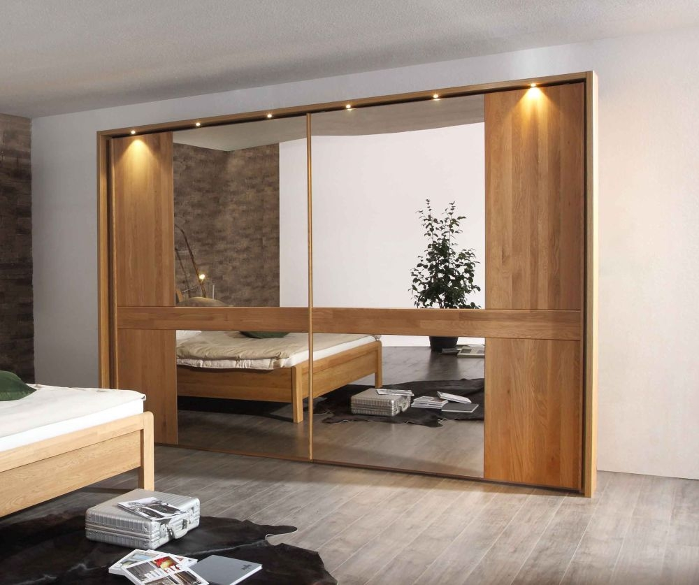 Wiemann Faro 2 Door Sliding Wardrobe in Oak and Parsol Bronze Mirror Glass - W 300cm