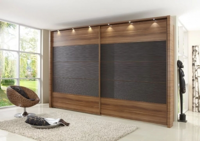 Wiemann Hollywood 4 Oak Sliding Wardrobe with Line 2-3 and 4 in Mocca Texture - W 200cm-400cm