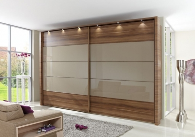 Wiemann Hollywood 4 Oak Sliding Wardrobe with Line 2-3 and 4 in Sahara Glass - W 200cm-400cm